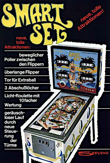 """Werbung für den Williams-Flipper """"Smart Set"""" aus dem Jahr 1969 -- SMART SET -- tolle neue Attraktionen -- beweglicher Poller zwischen den Flippern -- überlange Flipper -- Tor für Extraball -- 3 Abschußlöcher -- Licht-Roulette mit 10facher Wertung -- geräuschloser Lauf durch neue Steuerung der Türme"""