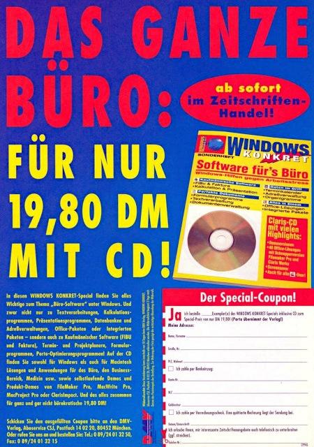 Werbung aus dem Jahr 1994 für die DMV-Computerzeitschrift Windows Konkret (inklusive CD mit Bürosoftware) -- DAS GANZE BÜRO: -- ab sofort im Zeitschriftenhandel -- FÜR NUR 19,80 DM MIT CD!