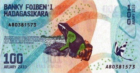 Banknote über hundert Ariary aus Madagaskar -- Motiv ist ein Frosch