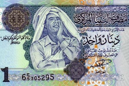Alte Libyische Banknote über 1 Dinar mit Muammar al-Gaddafi als Motiv