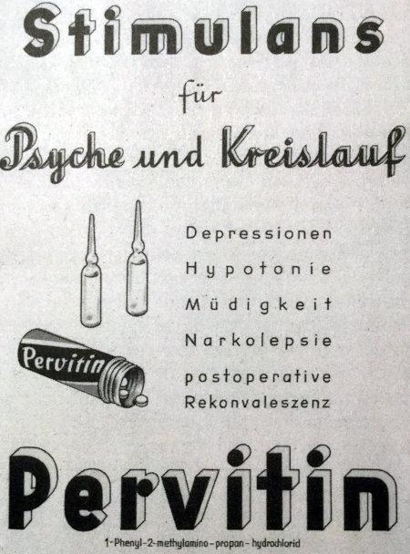 Stimulanz für Psyche und Kreislauf -- Depressionen, Hypotonie, Müdigkeit, Narkolepsie, postoperative Rekonvaleszenz -- Pervitin -- 1-Phenyl-2-methylamino-propan-hydrochlorid