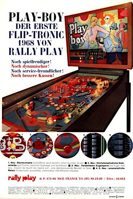 An Aufsteller gerichtete Werbung für den Rally-Play-Flipper 'Playboy' aus dem Jahr 1967 -- PLAY-BOY -- DER ERSTE FLIP-TRONIC 1968 VON RALLY PLAY -- Noch spielfreudiger! Noch dynamischer! Noch service-freundlicher! Noch bessere Kassen!