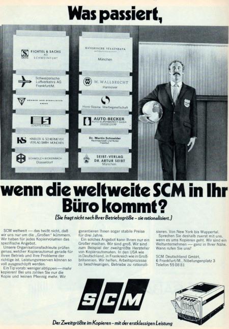 Werbung für SCM-Fotokopierer aus dem Jahr 1971: Was passiert, wenn die weltweite SCM in ihr Büro kommt? (Sie fragt nicht nach ihrer Betriebsgröße, sie rationalisiert.)