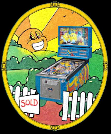 Detail aus der Reklame für den Bally-Flipper Mr. and Mrs. PacMan aus dem Jahr 1982