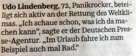 Udo Lindenberg, 72, Panikrocker, beteiligt sich aktiv an der Rettung des Weltklimas. 'Ich schaue schon, was ich da machen kann', sagte er der Deutschen Presse-Agentur. 'Im Urlaub fahre ich zum Beispiel auch mal Rad.'