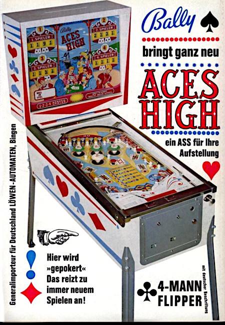 An Aufsteller gerichtete Werbung für den Bally-Flipper 'Aces High' aus dem Jahr 1965. -- Bally bringt ganz neu Aces High -- ein ASS für Ihre Aufstellung -- 4-Mann-Flipper -- mit deutscher Beschriftung -- Hier wird gepokert, das reizt zu immer neuen Spielen an -- Generalimporteur für Deutschland: Löwen-Automaten, Bingen