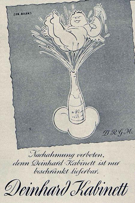 Werbung aus dem Jahr 1942: Nachahmung verboten, denn Deinhard Kabinett ist nur beschränkt lieferbar -- Deinhard Kabinett