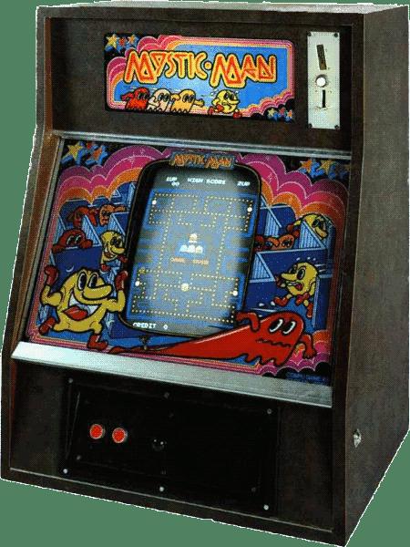 Pac-Man-Automat in einem Gehäuse für die Wandmontage mit schrillem Frontglas und dem Namen 'Mystic Man'.