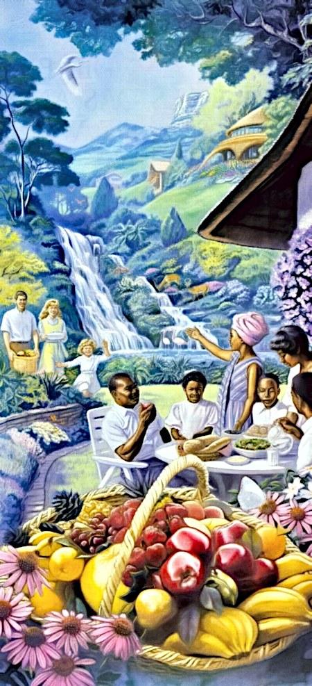 Kitschige Darstellung der Neuen Welt aus der Literatur der Zeugen Jehovas