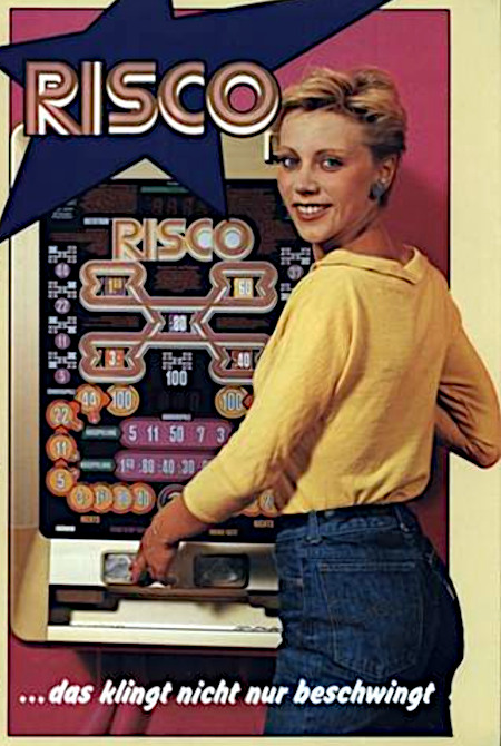 An Aufsteller gerichtete Reklame für das Wulff-Geldspielgerät Risco aus dem Jahr 1982 -- RISCO -- Das klingt nicht nur beswingt