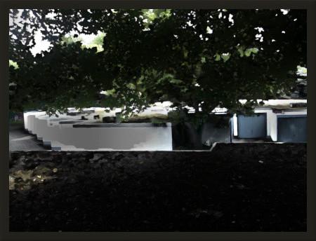 Stark nachbarbeitetes Foto einiger Garagen, unter dem Schatten eines Baumes auf dem Dach einer Garage aufgenommen