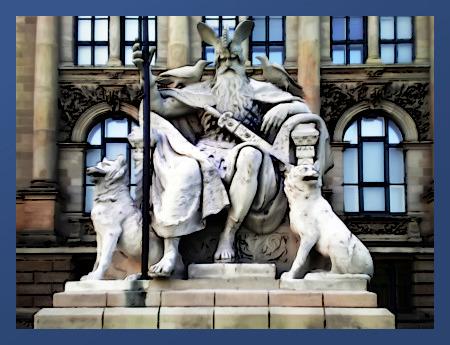 Nachbearbeitetes Foto der Odin-Statue hinter dem Niedersächsischen Landesmuseum