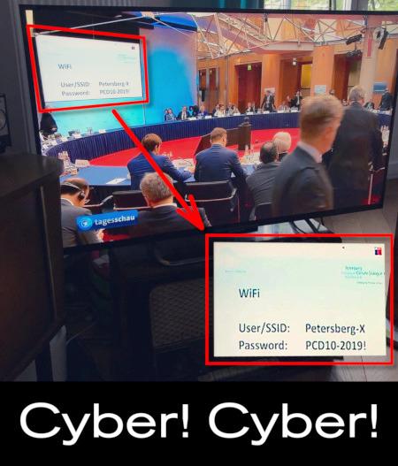 Foto eines Fernsehers, in dem die Tagesschau läuft. Im Bild eine politische Konferenz. Auf einer Anzeigetafel werden die WLAN-Zugangsdaten angezeigt. Diese habe ich kopiert und durch etwas Nachbearbeitung bequem lesbar gemacht.