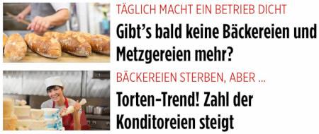 Täglich macht ein Betrieb dicht: Gibt's bald keine Bäckereien und Metzgereien mehr? -- Bäckereien sterben, aber...: Torten-Trend! Zahl der Konditoreien steigt.
