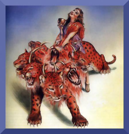 Illustration mit einer Abbildung der Hure Babylon auf dem siebenköpfigen Tier aus dem Offenbarungsbuch der Zeugen Jehovas