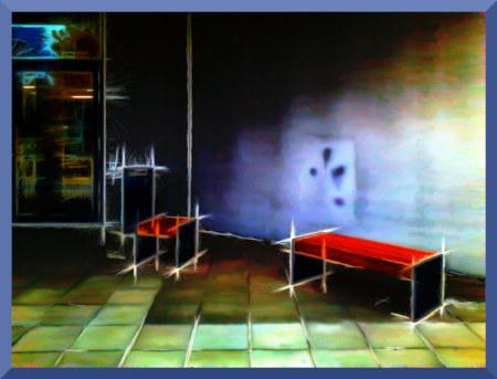 Durch Bearbeitung stark verfremdetes Foto einer Rauchsitzgelegenheit vor einer hannöverschen Behörde