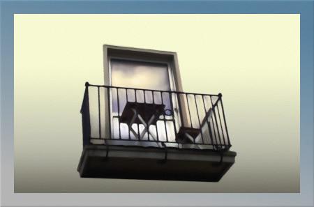 Stark mit Gimp nachbearbeitetes Foto eines winzigen Balkons, in dessen Türscheibe sich der bewölkte Himmel im Abendlicht spiegelt, die gesamte Wand mit ihren Fenstern wurde entfernt