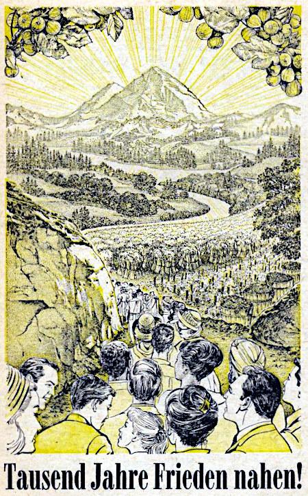 Illustration aus einem alten Buch der Zeugen Jehovas: Tausend Jahre Frieden nahen
