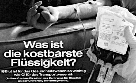 Detail aus einem Wachtturm der Zeugen Jehovas -- Was ist die kostbarste Flüssigkeit? -- Blut ist für das Gesundheitswesen so wichtig wie Öl für das Transportwesen