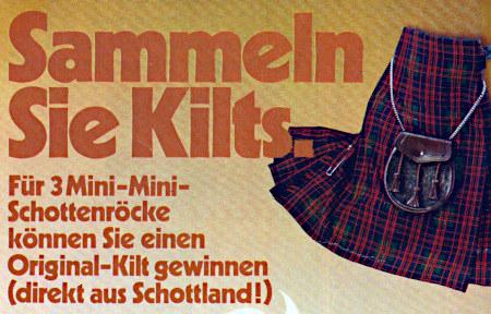 Sammeln Sie Kilts! Für 3 Mini-Mini-Schottenröcke können Sie einen Original-Kilt gewinnen (direkt aus Schottland!)