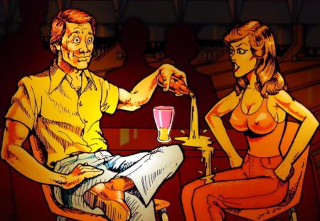 Backglass-Detail des Bally-Flippers Strikes and Spares aus dem Jahr 1978: Mann blickt mit derart lüsternen Augen auf eine Frau, die mit ihm am Tisch sitzt, dass er beim Einschenken seines Getränkes in ein Glas danebengießt. Die Frau wird davon feucht... ähm... nass.
