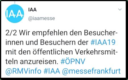 Tweet von @iaamesse@twitter.com -- 2/2 Wir empfehlen den Besucherinnen und Besuchern der #IAA19 mit den öffentlichen Verkehrsmitteln anzureisen #ÖPNV @RMVinfo #IAA @messefrankfurt