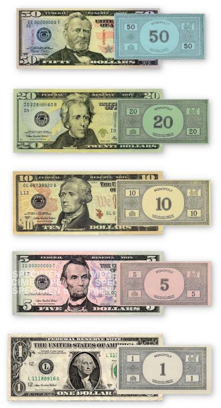 Eine Gegenüberstellung der aktuellen US-Dollar-Banknoten mit älterem Monopoly-Geld. Die Farben passen verblüffend gut, wenn man ein bisschen dabei schummelt...