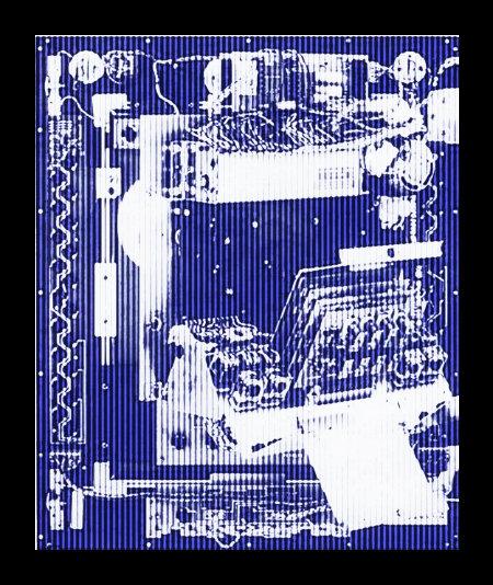Türseite eines aufgeklappten Bellfruit-Geldspielautomaten Lucky Bell aus dem Jahr 1975, stark mit Gimp nachbearbeitet.