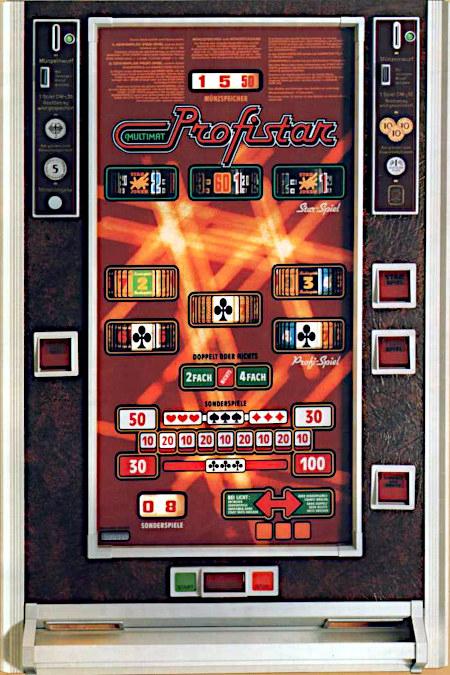 Frontscheibe des Geldspielgerätes Multimat Profistar von Wulff aus dem Jahr 1980