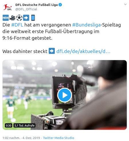 Die #DFL hat am vergangenen #Bundesliga-Spieltag die weltweit erste Fußball-Übertragung im 9:16-Format getestet. Was dahinter steckt https://dfl.de/de/aktuelles/d
