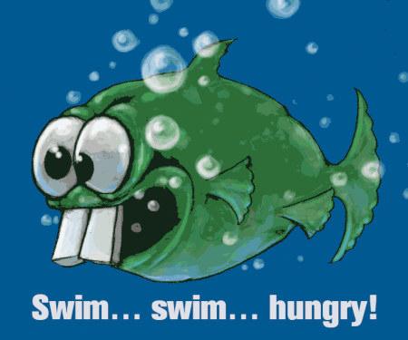 Dopefish mit Schriftzug »swim... swim... hungry!« darunter.