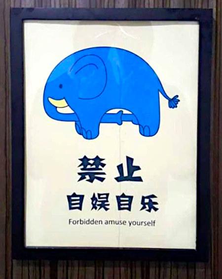 Schild in China. Motiv ist ein blauer Elefant, der sich mit seinem Rüssel masturbiert. Darunter chinesische Schriftzeichen, darunter eine englische Übelsetzung: Forbidden amuse yourself