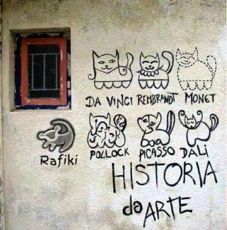 Graffito an einer Hauswand. Jeweils eine (schnell gesprühte) Katze im Stil von Da Vinci, Rembrandt, Monet, Rafiki, Pollock, Picasso, Dali. Darunter der Text: Historia da arte.