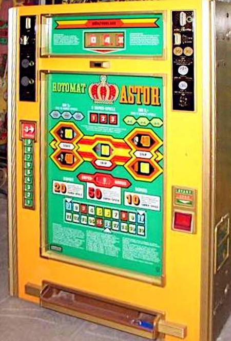 Abbildung des Geldspielautomaten Rotomat Astor aus dem Jahr 1974