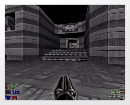 Screenshot Doom, stark mit Gimp bearbeitet