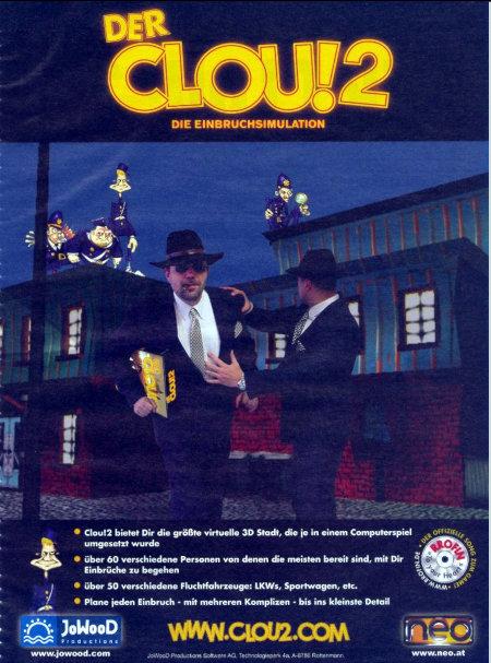 Werbung für das Computerspiel Der Clou!2 (Einbruchssimulation) aus dem Jahr 2001.