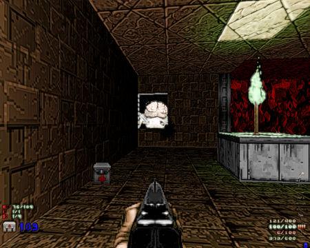 Mit Gimp nachbearbeiteter DooM-Screenshot: Man sieht durch ein Fenster den Hintern des Spider Mastermind