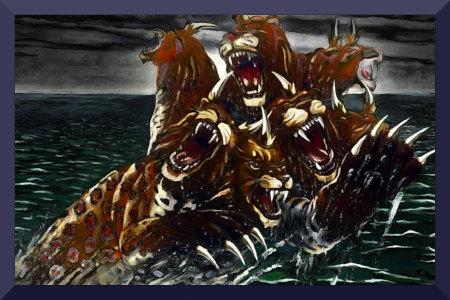Mit Gimp nachbearbeitete Illustration aus dem Offenbarungsbuch der Zeugen Jehovas