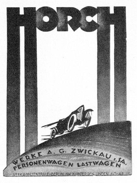 Werbung der Horch-Werke AG, Zwickau, Sachsen -- Personenwagen -- Lastwagen -- aus dem Jahr 1922