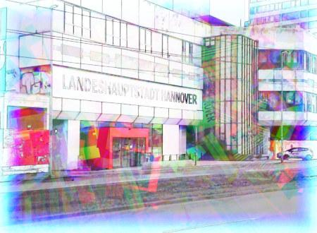 Stark mit Gimp nachbearbeitetes Bild der Ruine des Ihmezentrums mit dem Eingang zu den Räumen der Stadtverwaltung Hannover, worüber ein großes Transparent 'Landeshauptstadt Hannover' hängt.