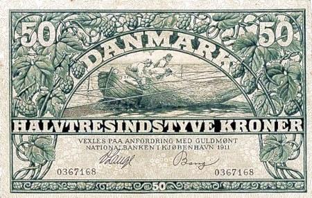 Abbildung einer dänischen 50-Kronen-Banknote aus dem Jahr 1911 mit dem Zahlwort halvtresindtyve