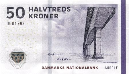 Abbildung der gegenwärtigen dänischen 50-Kronen-Banknote mit dem Zahlwort halvtreds