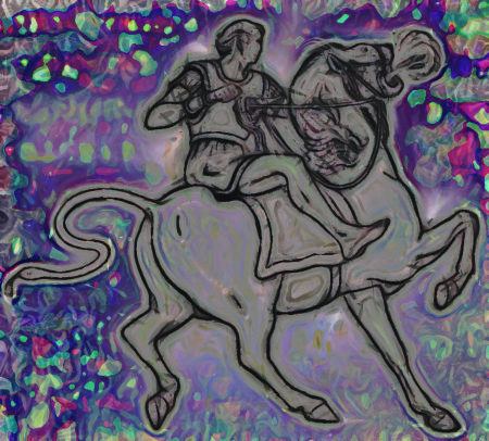 Stark mit Gimp nachbearbeitete Illustration aus einem alten Buch der Zeugen Jehovas. Motiv ist ein Reiter auf einem Pferd mit flammenspuckenden Löwenkopf, der Schwanz des Pferdes ist eine Schlange