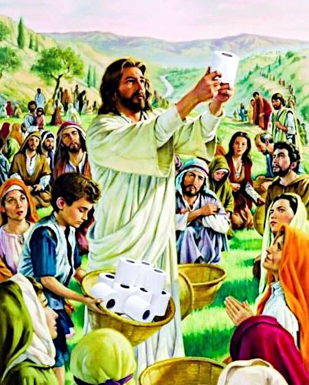 In seiner Wirkung kaum zu beschreiben. Ein religiöses Kitschbild mit Jesus, der inmitten einer Menschenmenge wie bei der typischen Darstellung der biblischen Vermehrung von Brot und Fischen eine Rolle Klopapier in die Luft hält, neben ihm ein Kind mit ein paar Rollen Klopapier in einem Korb