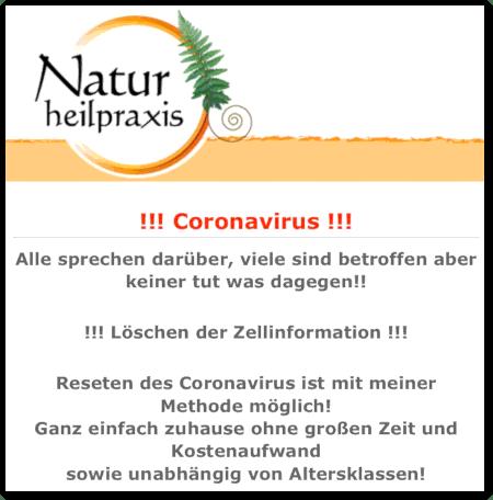 Detail aus der Website einer so genannten Naturheilpraxis: !!! CORONAVIRUS !!! -- Alle sprechen darüber, viele sind betroffen aber keiner tut was dagegen!! -- !!! Löschen der Zellinformationen !!! -- Reseten des Coronavirus ist mit meiner Methode möglich! Ganz einfach zuhause ohne großen Zeit und Kostenaufwand sowie unabhängig von Altersklassen!