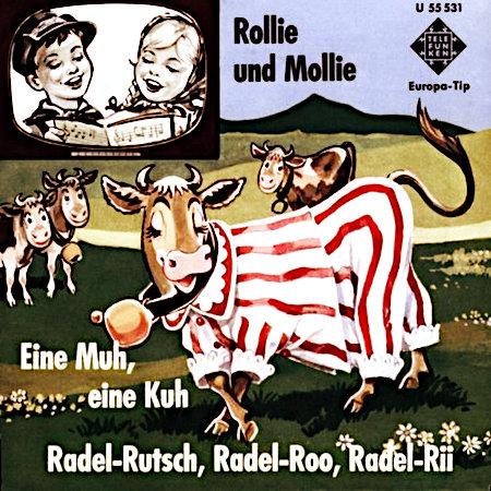 Werbung für eine Schallplatte aus dem Jahr 1963 -- Telefunken Europa-Tip -- Rollie und Mollie -- Eine Muh, eine Kuh Radel-Rutsch Radel-Roo Radel-Rii