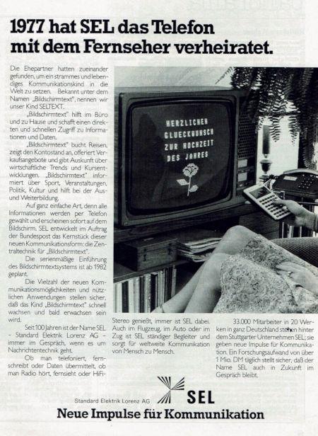 Werbung der Lorenz AG für Bildschirmtext aus dem Jahr 1980: 1977 hat SEL das Telefon mit dem Fernseher verheiratet