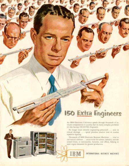 Reklame für IBM-Computer aus dem Jahr 1951. Die Rechenleistung des Computers wird durch eine Reihe von Ingenieuren mit Rechenschiebern visualisiert.
