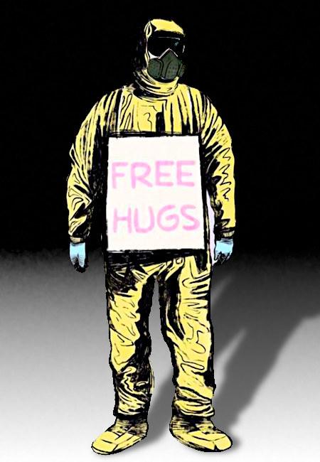 Zeichnung eines Menschen in voller, schwerer Schutzkleidung, mit Schild: 'Free Hugs'