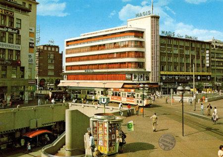 Ansichtspostkarte mit Foto der hannoverschen Stadtmitte aus dem Jahr 1986
